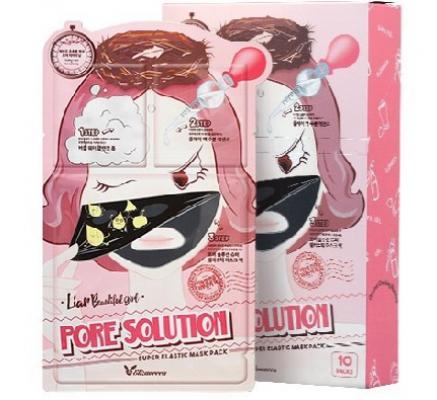Маска трехступенчатая для проблемной кожи ELIZAVECCA Pore Solution Super Elastic Mask Pack 10шт: фото