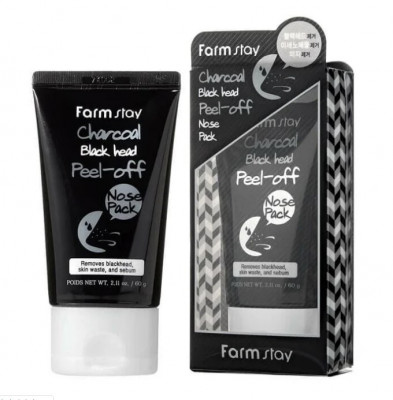 Маска-пленка с углем для носа FarmStay Charcoal Black Head Peel-off Nose Pack 60г: фото